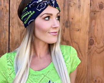 Seattle Seahawks Vintage Style Turban Headband || Hair Band Accessory Cotton Workout Yoga Fashion Navy Blue White Green Hawks Scarf