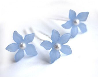 Blue flower hair pins with pearl centre