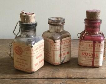 REDUCED! Antique French L'Artisan Pratique Small Leather Dye Bottles Cork Stoppers Paper Labels Interior Design Art Supplies Paris France