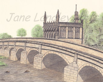 Chantry Bridge, Wakefield : Limited edition print of my original artwork No 1 of 100 A4