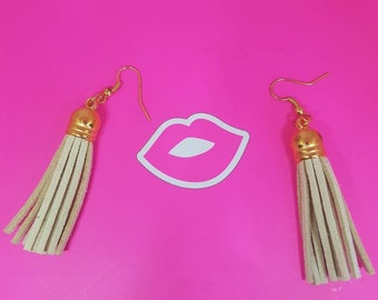 Tan suede tassel earrings