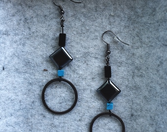 Onyx Hematite Turquoise Stone and Silver Earrings