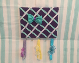 Purple,Teal, and white headband And hairbow organizatior