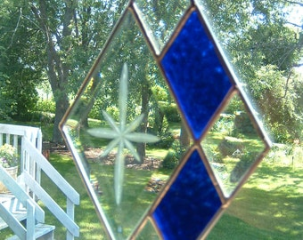 Stained Glass Bevel Diamond  8 Point Star  Triangle Sun catcher