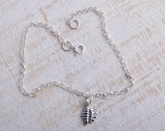 Sterling silver conch shell sea shell charm chain bracelet sterling silver 925 seashell