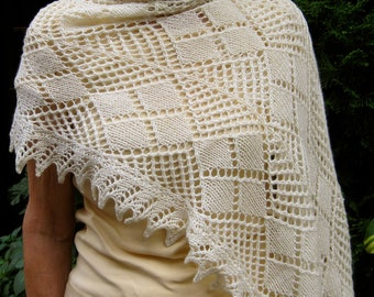 Knit Wrap Pattern:  The Hulkstoy  Lace Shawl Knitting Pattern