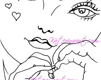 INSTANT DOWNLOAD Digi Stamps Big Eye  Girl  signs of love Digi By Katerina Art