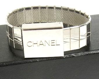 RARE! Authentic CHANEL Silver Watch Motif Bracelet