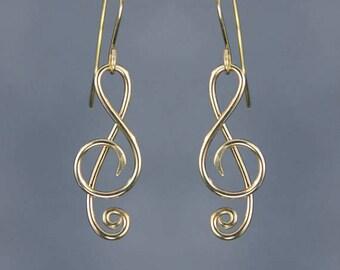 or 14k rempli note musique boucles d'oreilles pendantes nous livraison gratuite designs authentique fait à la main