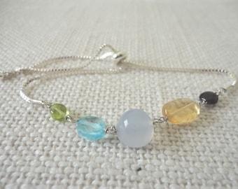 multi gem bracelet silver, slide bracelet, Slider Bracelet silver, semiprecious bracelet, silver bracelet with stones , fashion bracelet
