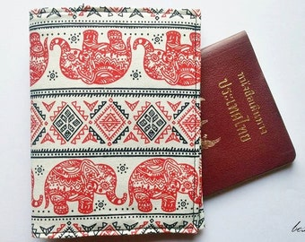 Handmade Thai Elephant A Fabric Passport Case Cover Wallet Holder