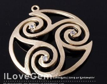 NP-780 Matt Gold-plated, swirl Round pendant, 2pcs