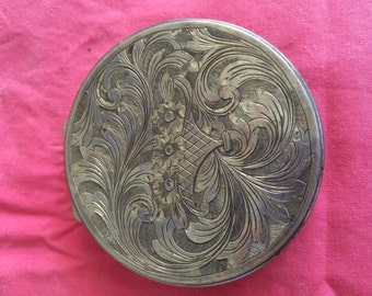 Silver compact; vintage; bought in Italy in 1960s; choice of color of powder puff
