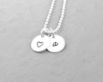 Personalized Heart Necklace, Sterling Silver Jewelry, Initial Necklace with Heart, Hand Stamped Jewelry, Monogram Necklace, a, All Letters