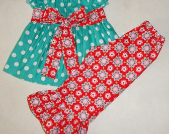 Girls Red Ruffle Pants Peasant Top Set Teal Apple Dots with Red Star Floral Sash Bow