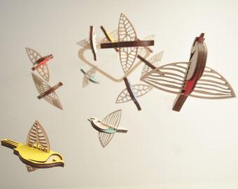 Flying High Bird mobile medium - wooden mobile - nursery mobile
