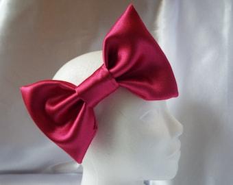 Deep pink satin large 7 inch big hair bow elasticated headband