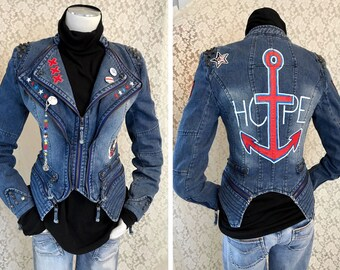"""POP jeans jacket """"Hope"""" anchor in the biker style Gr.S XXL anchor of patches Tiger rivets"""