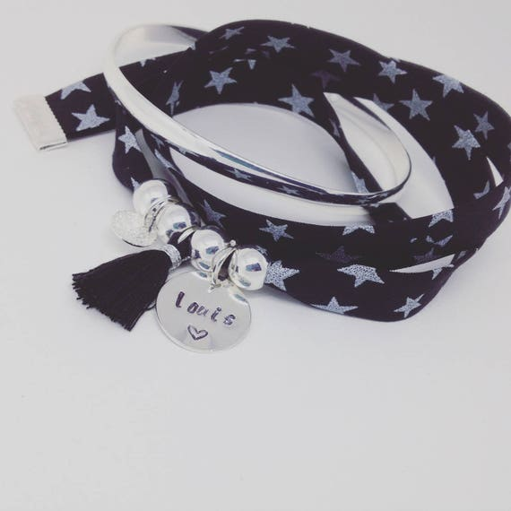 Personalized Bracelet GriGri XL Liberty with custom engraving and tassel by Palilo