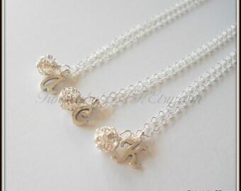 Satz von drei Fireball und erste Sterling Silber Halskette Blumenmädchen Brautjungfer