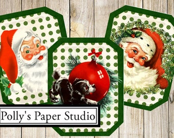 Retro Christmas Images Cards Digital Images printable download file 6 images