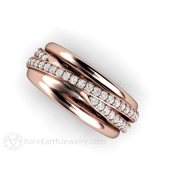 Diamond Ring Triple Band Multi Band Rolling Ring Wedding Band