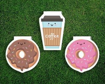 Magnetic Bookmark Set | Donut + Coffee Break Magnet Bookmarks Pack of 3, Magnetic, Cute, Quirky, Food, Donuts, Bookmarks, Kawaii.