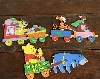 Winnie the Pooh, Retro Childrens Art, Nursery Wall Decor, Pooh and Friends,Vintage Disney Art,Paperboard Art,Retro Disney, Playroom Wall Art