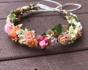 Light Pink Floral Halo - Peach and Pink Flower Crown
