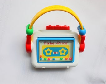 Vintage Fisher Price Cassette Recorder, Fisher Price Vintage Rattle, Toy Cassette Rattle