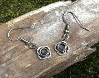 Silver Celtic Earrings, Irish Jewelry, Customizable Color, Black Shown, Over 20 Colors Available!