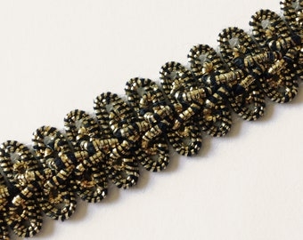 Antique Gold Chinese Braid, vintage, polyester core covered in lurex, 5-8th inch wide, offering 1 lot of 11.25 yard.