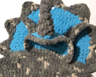Triceratops Dino Baby Wrapghan/Playmat 0-12mo Handmade Crochet in blue and gray