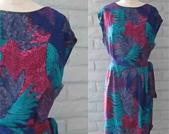 Vintage 1980's matching set TROPICAL TWO-PIECE top and skirt - M/L