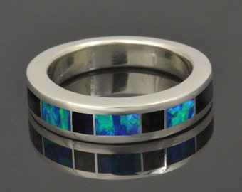 Custom Lab Created Opal Ring with Black Onyx Inlaid In Sterling Silver for Nick