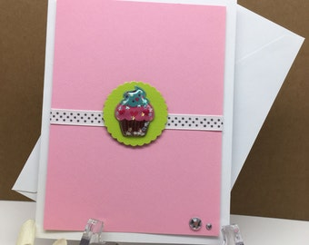 Cupcake Stationary, Cupcake Card, Cupcake Birthday, Cupcake Note Card, Pink Stationary, Blank Inside