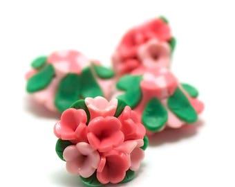 "2 cabochons ""Polynesian flower n ° 5"", 25 x 16 x 11 mm, pink/green"
