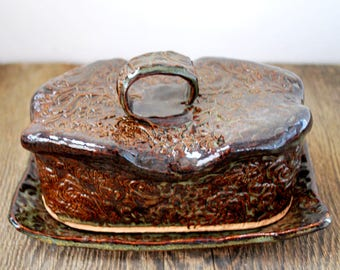 Textured Brown Butter Dish Stoneware Clay Pottery Gift for Her Ready to Ship