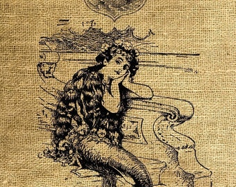 INSTANT DOWNLOAD The Mermaid - Image Transfer for Tote Bags, Pillows, Tea Towels and More - Digital Sheet by Room29 - Sheet no. 074