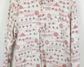 Vintage shirt, 90s clothing, shirt 90s, white and red, cactus, long sleeves, oversized
