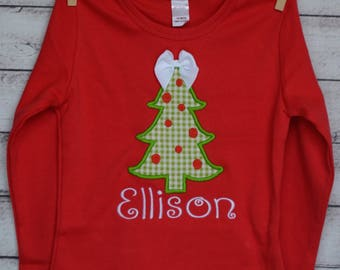 Christmas Tree Applique Shirt or Bodysuit Boy or Girl