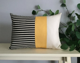 Decorative Pillow Cover, Color Block Pillow, Pillow with Yellow Stripe and Black Stripes
