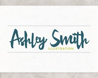 Premade Logo Design | Photography Logo | Modern Typography | Minimalist Design | Navy and Lime | Blue and Green | Illustrator Logo