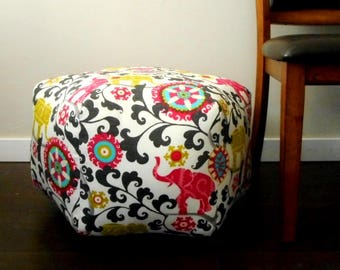 Elephant Pouf, indoor outdoor fabric, Pink and Grey, Ottoman, pink elephants, foot stool, Large Pouf