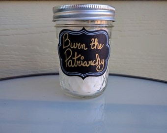 Burn the Patriarchy Feminist Candle