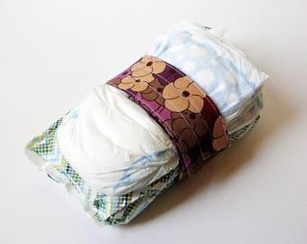 Plum Diaper Strap - Rich Plum Garden Blossom Swirl