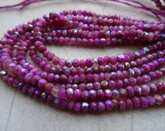 2-3 mm Mystic Pink titanium Quartz Faceted Rondelle Full 13 inch strand -AAA+