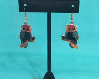 Vintage gold tone cloisonne owl earrings
