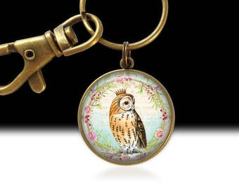 Owl Jewelry, Owl Pendant, Wearable Art, Owl Necklace, Owl Pendant Charm, Owl Photo Necklace, Owl Gift, Owl with Crown, Owl Keychain