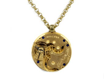 Steampunk Jewelry Necklace Vintage ELGIN Gold Pocket Watch, Wedding Anniversary Mens or Womens Holiday Gift STUNNING - Jewelry by edmdesigns